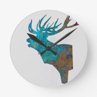 deer head stag in turquois round clock