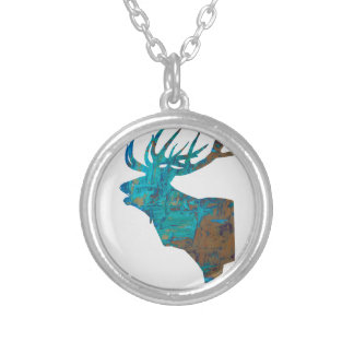 deer head stag in turquois silver plated necklace