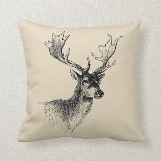 Deer Head Vintage Farmhouse Style Throw Pillow