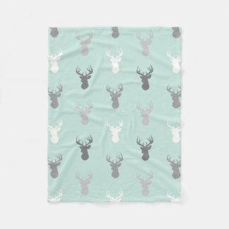 Deer Heads in Mint and Grey Fleece Blanket