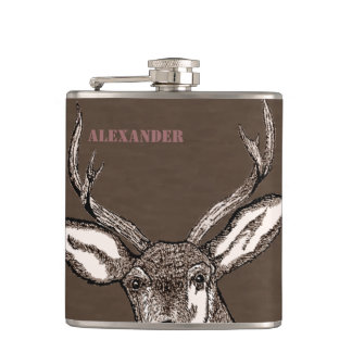 Deer Hunter Buck Personalized Hip Flask