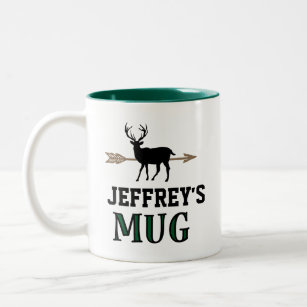 Deer Hunting Bow Hunter Personalized Gift Two-Tone Coffee Mug