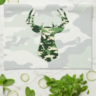 Deer Hunting Camo Buck Kitchen Towel
