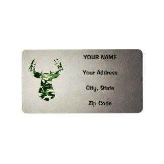 Deer Hunting Camo Buck Label