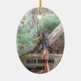 Deer Hunting Firearms Ceramic Oval Ornament