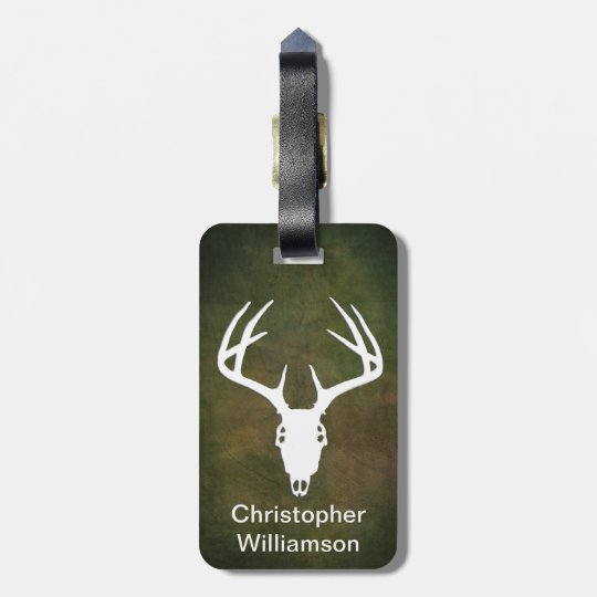 Deer Hunting Skull w/ antlers Bag Tag