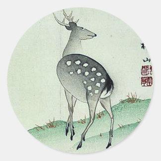 Deer in Autumn Ukiyoe Classic Round Sticker
