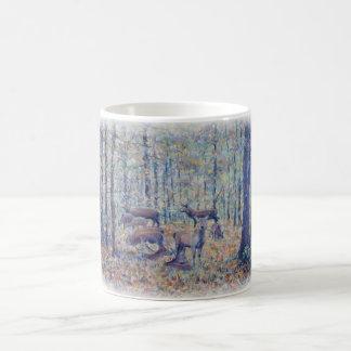 Deer in autumn woodland coffee mug