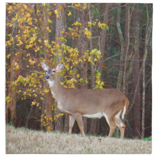 Deer in Front of Yellow Autumn Tree Printed Napkins