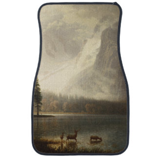 Deer In Lake With Snow Mountains Scene Floor Mat