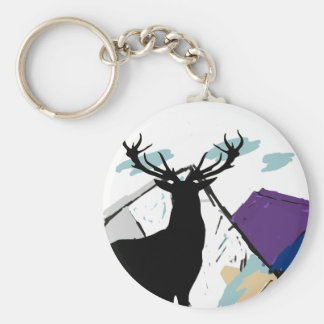 Deer in mountains basic round button keychain