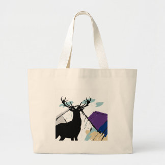 Deer in mountains large tote bag