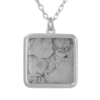 DEER IN PENCIL SILVER PLATED NECKLACE