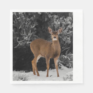 DEER IN SNOW DISPOSABLE NAPKINS
