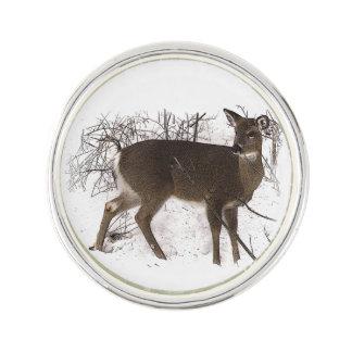 Deer in Snow Lapel Pin