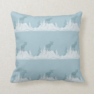 Deer in snowy mountains Throw Pillow