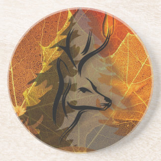 Deer in the Autumn Woods Coaster
