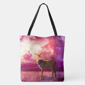 Deer In the Clouds - Pink Tote Bag