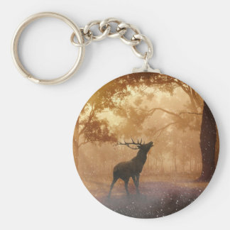 DEER IN THE FOREST BASIC ROUND BUTTON KEYCHAIN