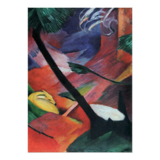 Deer in the Forest II by Franz Marc; Reh im Walde Poster
