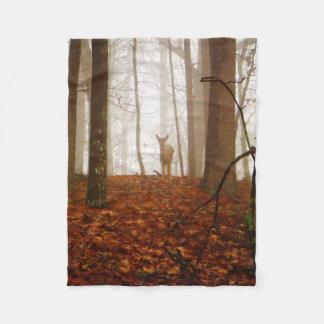 Deer in the Mist Fog Fleece Blanket