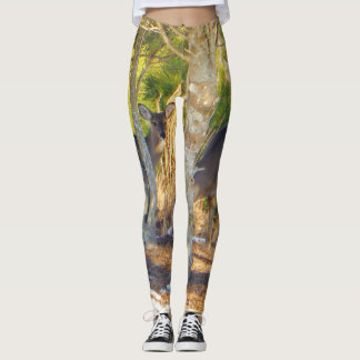 Deer in the pine and holly Camo Camouflage . Leggings