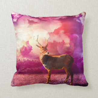Deer in the Pink Clouds Throw Pillow