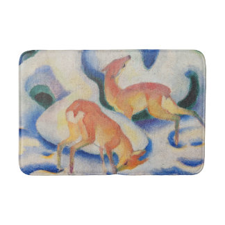 Deer in the Snow by Franz Marc Bath Mat
