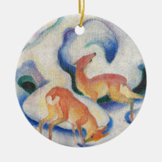 Deer in the Snow by Franz Marc Ceramic Ornament