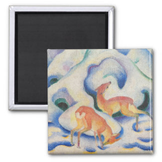 Deer in the Snow by Franz Marc Magnet