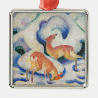 Deer in the Snow by Franz Marc Metal Ornament