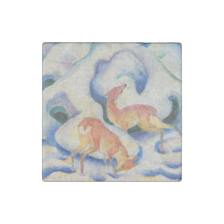 Deer in the Snow by Franz Marc Stone Magnets