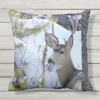 Deer In The Snow Outdoor Pillow