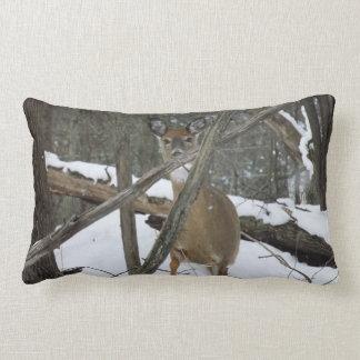 Deer In The Woods Lumbar Throw Pillow