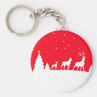 Deer in winter landscape keychain