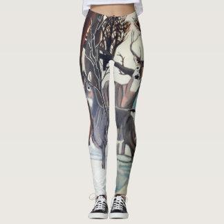 DEER IN WINTER leggings