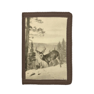 Deer In Woods Tri-fold Wallet