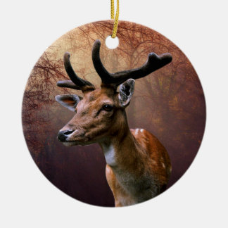 Deer isolated on any background round ceramic ornament