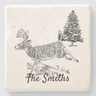 Deer Jumping Over A Log Personalized Stone Coaster