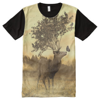 Deer - Leaves - Butterfly ( Sepia ) All-Over-Print T-Shirt