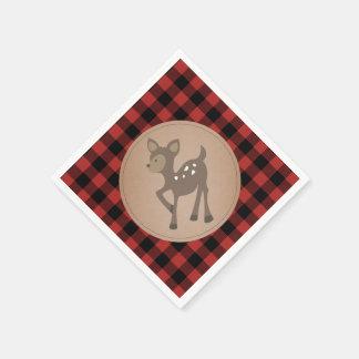 Deer Lumberjack Plaid Baby Shower Napkins Paper Napkins