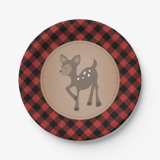 Deer Lumberjack Plaid Baby Shower Paper Plate