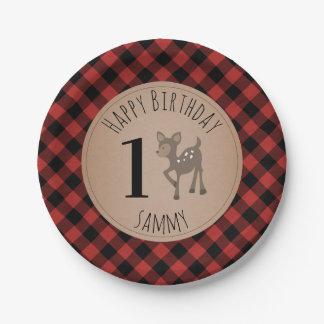 Deer Lumberjack Plaid Birthday Party Paper Plate