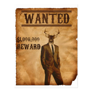 Deer Man is Wanted Postcard
