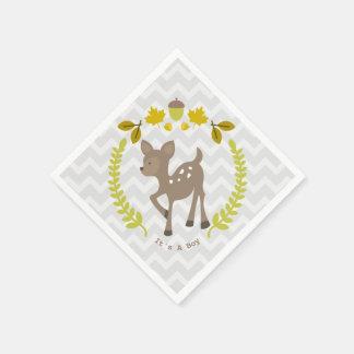Deer Modern Boy Baby Shower Napkins Paper Napkins