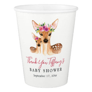 Deer Mom And Baby Floral Thank You Baby Shower Cup
