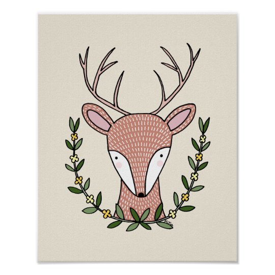 Deer Nursery Art Print Woodland Nursery poster