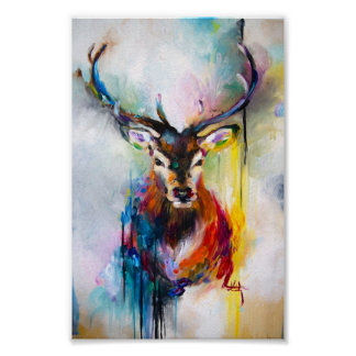deer oil painting poster