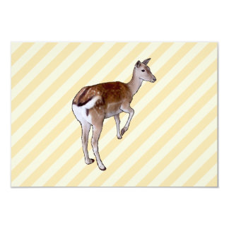 Deer, on Beige Stripes. Card