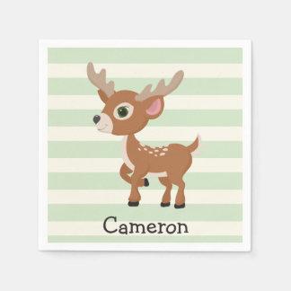 Deer on Pastel Green Stripes Paper Napkin